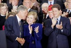 Then-President Bill Clinton talks to his wife, then first-lady Hillary Rodham Clinton as then-Vice President Al Gore applauds during a kickoff prep rally for the president's health care plan at the White House in 1993. Al Gore, Hillary Rodham Clinton, Care Plans, Vice President, Always Be, Health Care, Presidents, Rally, Hate