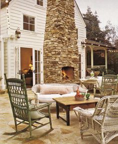 outdoor fireplace use the chimney for inside and outside