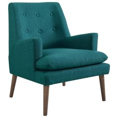 Complement your mid-century modern design theme with the Modway Leisure Upholstered Lounge Chair . The sloped arms and button-tufted tight back give. Living Room Chairs, Living Room Furniture, Modern Furniture, Ikea Furniture, Furniture Stores, Furniture Design, Upholstered Arm Chair, Armchair, Teal Chair