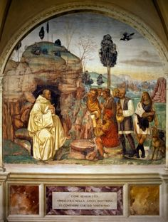 Pope Benedict teaching holy doctrine to peasants, from Stories of St. Benedict of Monte Oliveto Maggiore, 1495-1497, by Luca Signorelli (circa 1441-1523), fresco, Great cloister, Abbey of Monte Oliveto Maggiore, Asciano, Tuscany, Italy, 15th century