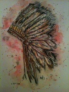Native American Headdress #watercolor #ink