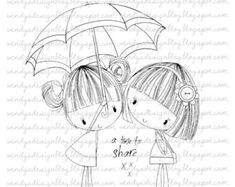 A Time To Share by alldressedupstamps on Etsy, - Hubber Whimsy Stamps, Digi Stamps, Embroidery Patterns, Hand Embroidery, Coloring Books, Coloring Pages, Doodle People, Drawing For Kids, Cute Illustration