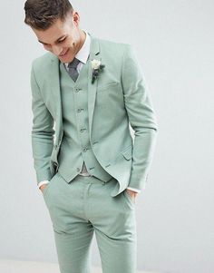 Find the best selection of ASOS DESIGN wedding super skinny suit jacket in sage green linen. Shop today with free delivery and returns (Ts&Cs apply) with ASOS! Casual Wedding Suit, Green Wedding Suit, Sage Green Wedding, Wedding Dress Men, Tuxedo Wedding, Wedding Tuxedos, Prom Tuxedo, Summer Wedding Suits, Wedding Poses