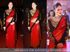 8fca27b923c85 saree- plain red color chiffon saree with plain black border. Blouse- heavy  black color velvet hand work blouse piece and work on sleeves.