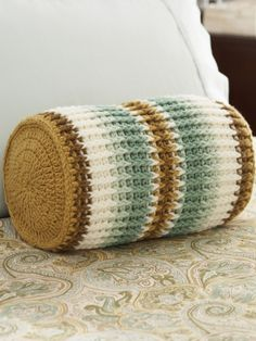 "Crochet pattern**From Yarnspirations.com. I didn't see the pattern but I'm sure you can find it. Its called ""Sand & surf striped bolster"" **"