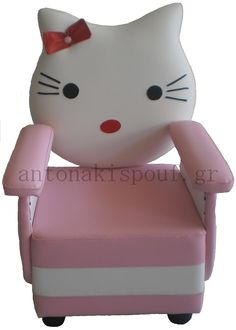 H χαριτωμένη γατούλα έχει την δικιά της πολυθρόνα και όλοι έχουν ξετρελαθεί.Πέρασε μια ολόκληρη ημέρα μαζί της. Hello Kitty, Fictional Characters, Fantasy Characters