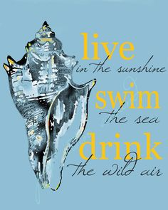 Live in the Sunshine, Swim the Sea, Drink the Wild Air, Quote by Ralph Waldo Emerson. Print by JustArtinAround.