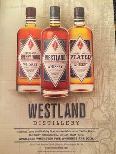 Westland Distillery Westland Distillery, South Seattle, Sleepless In Seattle, Tasting Room, Whisky, Whiskey Bottle, Branding Design, Retail, Corporate Design