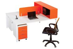 Open Plan Desking with Cube bookcase Contemporary Office Desk, Modern Contemporary, Orange Desks, Cube Bookcase, Open Plan, Office Furniture, Corner Desk, This Is Us, Ranges