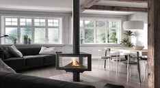 Born - Central fireplace - ROCAL   Decofinder Stove Fireplace, Wood Fireplace, Fireplaces, Freestanding Fireplace, Contemporary Style Homes, Contemporary Design, Chalet Chic, Double Front Doors, Wood Burner