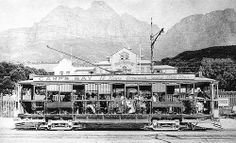 Tram at the Camps Bay Terminus Victoria Road, outside The Marine; later to become The Rotunda Early Old Pictures, Old Photos, Vintage Photos, Cape Town Holidays, Bay News, Inner World, History Photos, Most Beautiful Cities, Camps