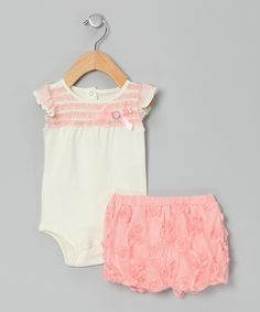 Pink Bodysuit & Rosette Shorts