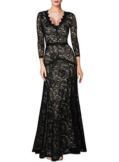 cool L04BABY Women Slim Sexy Floral Lace 3/4 Sleeve Deep V Neck Bridesmaid Maxi Dress