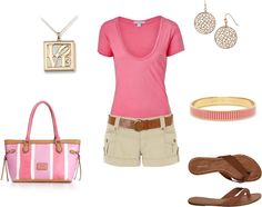 Summer outfit : Pink top.  Beige Shorts.  Brown Belt & sandals.  Pink, Purple, White & Brown Purse.