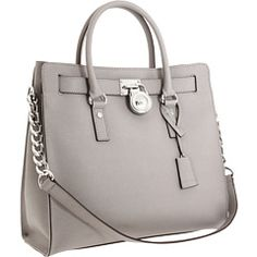 MICHAEL Michael Kors Hamilton Large North/South Tote in Pearl Grey Saffiano