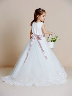 A-Line Floor Length Wedding / First Communion Flower Girl Dresses - Satin / Tulle Sleeveless Jewel Neck with Sash / Ribbon / Bow(s) / Appliques 2020 - US $109.99 Miniature Bride Dress, Satin Tulle, First Communion, Ribbon Bows, Sash, Flower Girl Dresses, Jewels, Wedding Dresses, Fashion