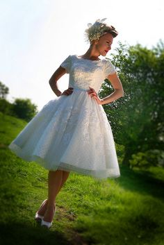 short swiss dot tulle and lace 1950's wedding dress 9l by Mooshki Bridal, via Flickr