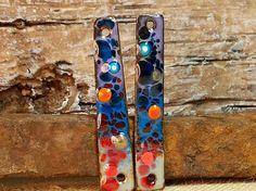 Slender Multi-Colored Mosaic Enamel Earring by BlueHareartwear