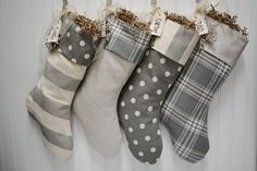 Set of 4 Christmas stockings in grey and white by TurnbowDesigns