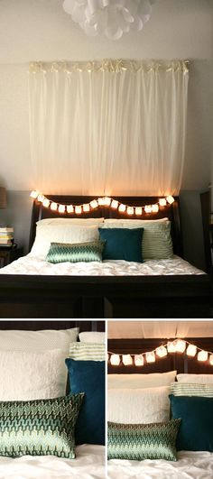 Love this idea of drapes behind hte headboard. Makes it almost as good as a princess canopy bed! Also put lights on too of headboard 💜💜💜 Closet Bedroom, Teen Bedroom, Dream Bedroom, Bedroom Ideas, Bedrooms, Apt Ideas, Decor Ideas, Manhattan Nest, Curtains Behind Bed