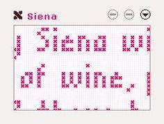 Print je tekst als telpatroon en borduur deze in kruissteek of stiksteek.
