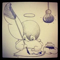 Studying angel, sketch by clim. http://bulles-de-clim.blogspot.com