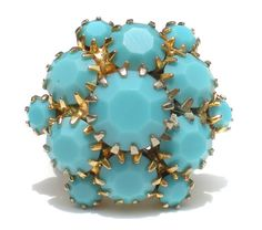 Turquoise Blue Cluster Ring on Etched Gold Tone by RibbonsEdge #GotVintage  #Vintage  #Jewelry