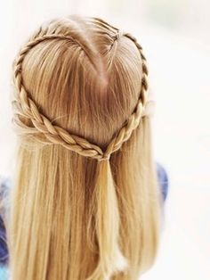 Heart hair design  So cute for a little girl on valentine's day (moms, get up early for this one!)