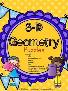 Great for math centers (including BUILD Math and Daily 3), these puzzles are a good hands-on tool to help students learn the names of 8 geometric figures. This product includes both colour and black and white versions - as well as a page with tips and alternative ideas of how to use these puzzles.Included figures:- cube- sphere- rectangular prism- triangular prism- square-based pyramid- triangle-based pyramid- cylinder- coneIt follows the Ontario Grades 1 and 2 Mathematics: Geometry and ...