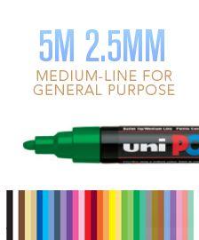 Uni Posca PC-5M Paint Marker Pens 2.5mm Medium Bullet Nib Mixed Colour 10 Pack