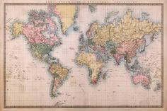 Poster: Map - Mercators Projection : 24x36in