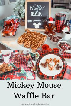 Mickey Waffle Bar with all the toppings you can think of. Celebrate the arrival of your Elf on the Shelf with the magic of Disney. Mickey Christmas, Christmas Snacks, Cabin Christmas, Christmas Fun, Xmas, Breakfast Waffles, Breakfast Buffet, Disney Food, Disney Desserts