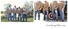 Charla Corn wedding.  Groom and Grooms men in tan sport coats instead of a tux! Photos by Kim Hayes Photography