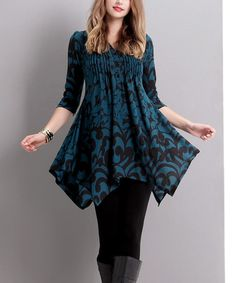 """This Emerald Floral Pin-Tuck Tunic is perfect! #zulilyfinds36"""" from high point of shoulder to hem"""