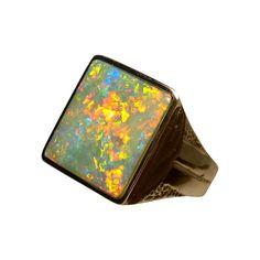 A big Opal ring for men in Gold with a very wide detailed band set with one rectangle Opal showing fantastic colors. Affordable Rings, Black Opal Ring, Walmart Jewelry, Discount Jewelry, Opal Rings, 18k Gold, Rings For Men, Jewels, Band
