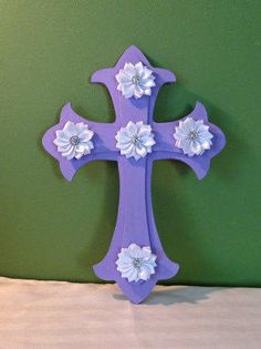 Purple wood wall cross hand painted white by StreetCrossingDesign