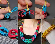 """Rubber Band Chain Necklace and Bracelet!!! The procedure is very simple and you will need a few items: rubber bands in different colors and different sizes, jump rings, and pliers. To do it yourself, sort the rubber bands and lay them out in the design you want. """"Note that the smallest size have two rubber bands for one chain loop and the larger ones consists of  three or four rubber bands."""" Now, follow the images, step by step to form the rings of the necklace (bracelet). Have fun!"""