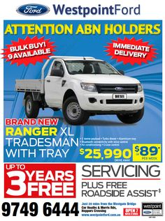 Brand New Ranger XL Tradesman with Tray $25,990 drive away.  Call 1300 699 115 #ford #cars #deals #offers Ford Specials, Diesel Brand, Tonne, Ranger, Cruise, Tray, Cruises, Trays, Board