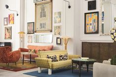 Designer Kelly Wearstler transforms a turn-of-the-20th-century building into Proper Hotel, a visual feast with custom-print wallpapers and a range of colorful textiles.