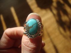 Turquoise and silver ring with beaded edge by antennaeart on Etsy, $70.00
