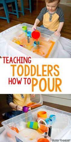 Pouring Skills: Make an Indoor Pouring Station; easy toddler activity; quick and easy activity; indoor activity; sensory bin activity; water play activity; life skills activity from Busy Toddler