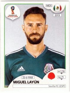 Miguel Layún - Mexico World Cup Russia 2018, World Cup 2018, Fifa World Cup, Football Stickers, Football Cards, Baseball Cards, Jersey Atletico Madrid, Club America, Sevilla