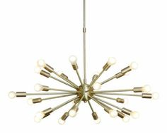 Gorgeous Mid Century Inspired Sputnik Chandelier in Solid Brass. 18 arms. 24inch diam   These beautiful and popular chandeliers are made of solid brass in our workshop, and minor variations in finish are an inherent part of the process only adding to the beauty and uniqueness of the end product. We have already sold them successfully and had great feedback- see my bio for links.  Seen here in Brushed Brass finish. These fittings come in a selection of finishes including Antique Patina/ P...