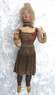 Antique C 1900 Germany Spun Cotton Christmas Ornament Woman Crepe Paper Dress | eBay 358.00 sold