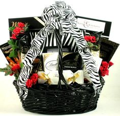 Zebra Stripes and Holiday Cheer Beautiful Gift Basket | Wedding Gift or Christmas Gift Basket - http://www.specialdaysgift.com/zebra-stripes-and-holiday-cheer-beautiful-gift-basket-wedding-gift-or-christmas-gift-basket/