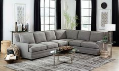 Carolina Custom Noland 4-Piece Sectional Charcoal Houston Houses, 3 Piece Sectional, Luxury Furniture Brands, Sustainable Fabrics, Sit Back And Relax, Furniture Outlet, Toss Pillows, Home And Living, Living Room Furniture