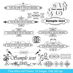 INSTANT DOWNLOAD Flourishes Clip art Swirls Decorative Wedding Invitation Scrapbooking