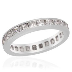 Liquidation Channel: J Francis Platinum Overlay Sterling Silver (Nickel Free) Ring made with SWAROVSKI ZIRCONIA