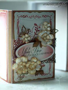 Evik, rękodzieło,kartka ślubna, spellbinders, ręcznie robione kwiaty