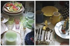 Collection of vintage glassware: i am loving this collection of pastel colored vintage glassware